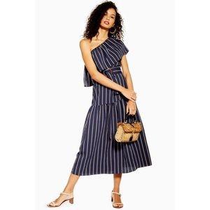 TOPSHOP SICILY Stripe One Shoulder Midi Dress